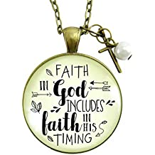 "36"" Faith in God Christian Necklace Includes Faith In Timing Cross Charm Pendant Jewelry Encourage Card"