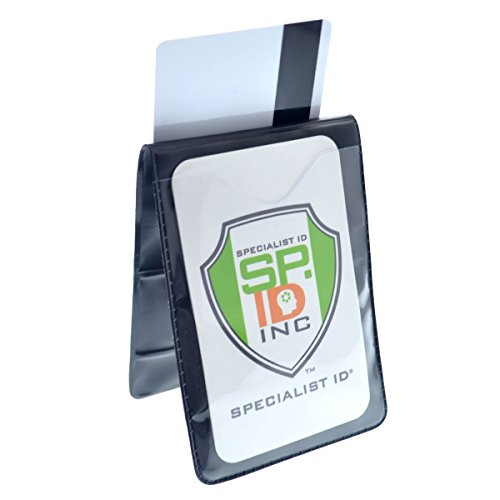 Vertical Heavy Duty Two Pocket Magnetic Badge Holders - Fold Over Shirt Pocket or Belt - by Specialist ID (Sold Individually)