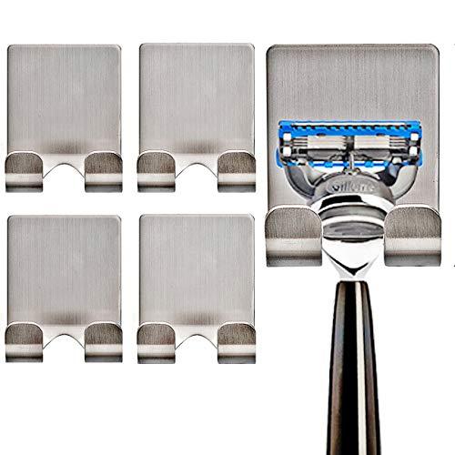 CASAFE+ Razor Holder Hook Self Adhesive Fit Wide Handle Razor (4 Pack)