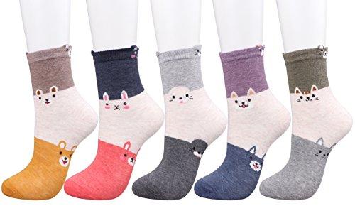 CozyWow Women's Girls Fun Crazy Cute Cartoon Animal Design Casual Socks (4/5/6 Packs) (S-M(Shoe size:6-9), (Cute Girl Cartoon Characters)