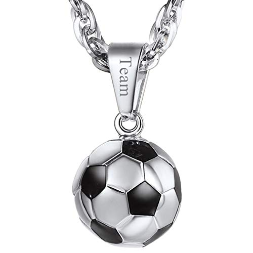 PROSTEEL Soccer Necklace Personalized Custom Name Jewelry Stainless Steel Men Women Unisex Football Player Gift Ball Pendant -