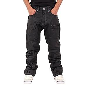 Men's Boys Star Black Coated Loose Fit Jeans Hip Hop