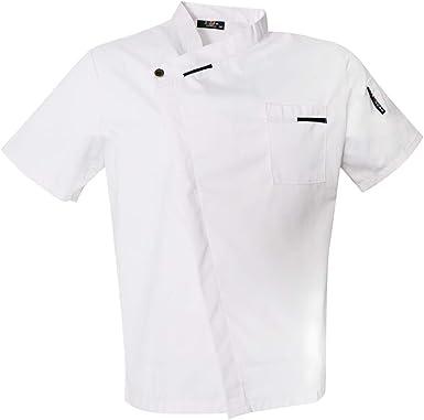 B Blesiya Chaqueta de Cocinero de Mangas Cortas Transpirable de Verano Camisa de Chef Uniforme de Restaurante Blusa de Personal de Alimentos: Amazon.es: Ropa y accesorios