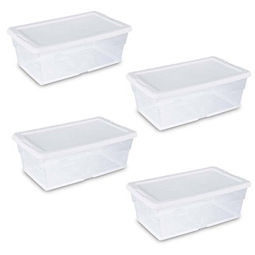 "Sterilite Storage Box 13.5"" X 8.3"" X 4.8"", 6 Qt. Clear - Pack of 4"