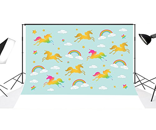 Yeele 10x10ft Cute Unicorn Baby Shower Photo Backdrop Vinyl Rainbow Cloud Dreams Cartoon Children Birthday Party Decoration Banner Photography Background for Kid Portrait Photo Booth Studio Props