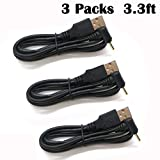 EEkiimy 3 Packs 3.3ft USB to DC 2.5mmx0.7mm Power Connector DC Power Cable Cord Right Angled 90 Degree DC 2.5 0.7 5V DC Barrel Jack Power Cable 2.0A DC Cord