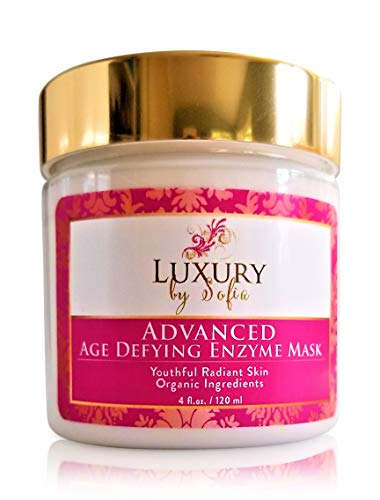 Luxury by Sofia Advanced Age Defying Organic Enzyme Mask Exfoliate Nourish Your Skin Unclogs Pores, Brightens Complexion Reduce Apearance of Wrinkles Hydrates Moisturizes Boost Collagen