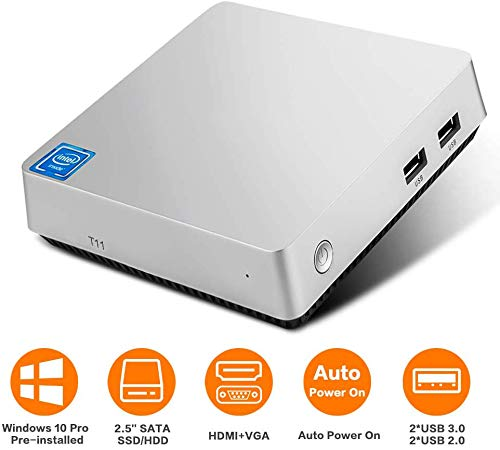 T11 Mini PC,Windows 10 Pro Intel Atom x5-Z8350 Fanless Desktop Computer,4GB DDR3/32GB eMMC, Support 2.5-Inch SATA III Internal SSD/HDD,4K HD,2.4/5G WiFi,1000M LAN,HDMI/VGA Output,Auto Power On