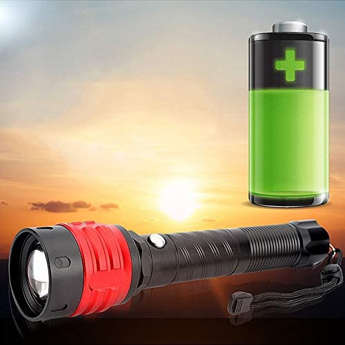 Zoom T6 Super Bright Flashlight Long-Range Rechargeable Waterproof Hunting, self-Defense Long Aluminum Section