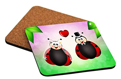 Rikki Knight Ladybugs in Love Illustration Design Cork Backed Hard Square Beer Coasters, 4-Inch, Brown, 2-Pack