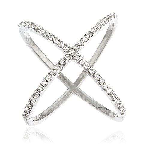 6 Stone Cross - Ladies Sterling Silver Criss Cross 'X' Ring with Cubic Zirconia Stones (6) (I-24486)