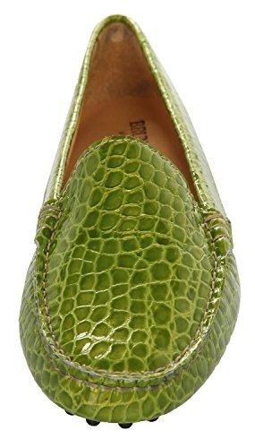 Bruno Magli Women Moccasins Handmade Green 1000-COCCO-VERDE, Size EUR:39