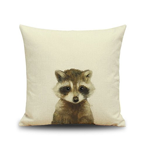 Crazy Cart Animal Pattern Cotton Linen Throw Pillow Case Cushion Cover Home Sofa Decorative 18 X 18 Inch