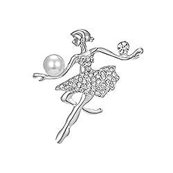Ballet Dancing Girl Shinning Crystal Glass Brooches