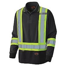 Pioneer V1051470-M Birdseye Long-Sleeved Safety Polo Shirt, Black M
