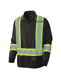 Pioneer V1051470-2XL Birdseye Long-Sleeved Safety Polo Shirt, Black, 2XL