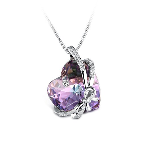 (T400 Jewelers Bowtie Knot Heart Pendant Necklace Made with Swarovski Elements Crystal)