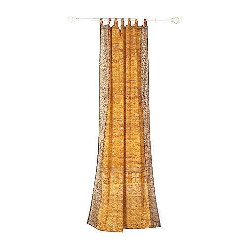 """Colorful Window Treatment Draperies Indian Sari panel 108 96 84 inch for bedroom living room dining room kids teens canopy boho curtains with Gift bag (Gold Yellow, 42""""W x 96""""L)"""