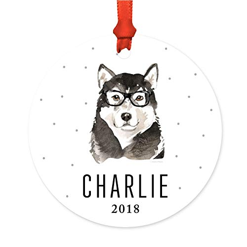Andaz Press Personalized Preppy Dog Art Round Metal Christmas Ornament, Malamute in Black Glasses 2019, 1-Pack, Custom Birthday Present Ideas for Him Her Dog Lover, Includes Ribbon and Gift Bag