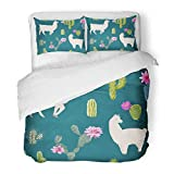 Emvency Bedding Duvet Cover Set Queen (1 Duvet Cover + 2 Pillowcase) Watercolor Cute Llama and Cactus Lamas Wildlife Nature Abstract Alpaca America Hotel Quality Wrinkle and Stain Resistant