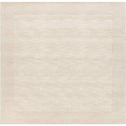 - Ronkonkoma Solid Border 8' Square Square Solid & Border 100% Wool Cream/Khaki Area Rug