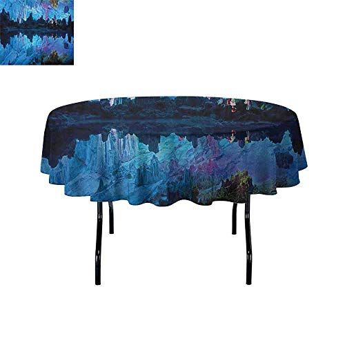 (DouglasHill Natural Cave Printed Tablecloth Illuminated Reed Flute Cistern with Artifical Crystal Palace Myst Cave Image Print Desktop Protection pad D35 Inch Blue)