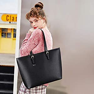 Black Tote Bag, COOFIT Handbags Black Handbags for Ladies Black Handbags Fashion Designed Women Handbag Ladies Black Leather Bag Shoulder Bag Thanksgiving Gift