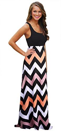 Daysoft Women Cotton A-line Summer Beach Sleeveless Casual Striped Maxi Long Dress (L, Color-7)