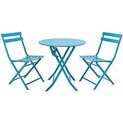 Giantex 3 PC Folding Bistro-Style Patio Table and Chair Set Outdoor Patio Garden Pool Backyard Furniture(Blue)