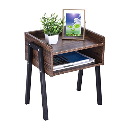 Creative Vintage Nightstand,Rustic Oak Wood Table with Drawer,20.5 inches,Black