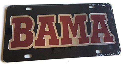 Alabama Crimson Tide Black Red Mirrored License Plate - BAMA Car Tag