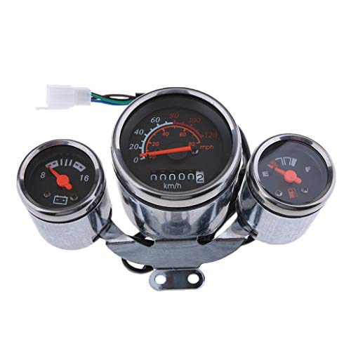 Scooter Speedometer Gas Gauge, Cluster, Fits Retro Style 49Cc, 50Cc -Chrome (Baja Metal Sconce)