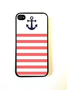 iPhone 4 Case Silicone Case Protective iPhone 4/4s Case Coral And White Stripe Anchor Sailor Sea Life