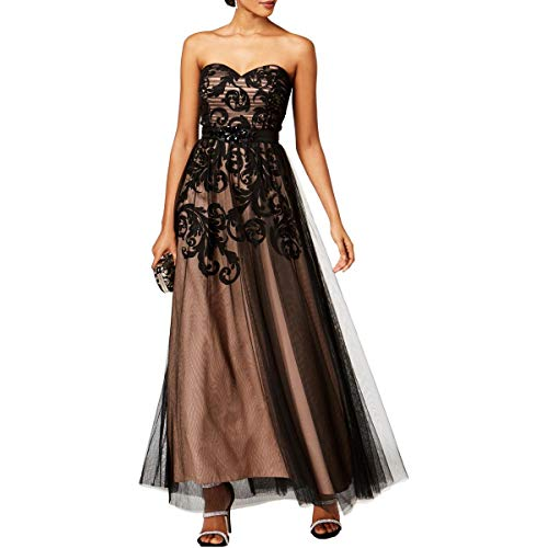 Betsy & Adam Womens Strapless Full-Length Evening Dress Black 14 (& Gown Evening Betsy Adam)