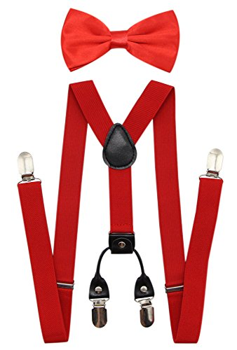 JAIFEI Men's 4 Clips Suspenders and Pre Tied Bow Tie Set for Tuxedo Wedding (Red)