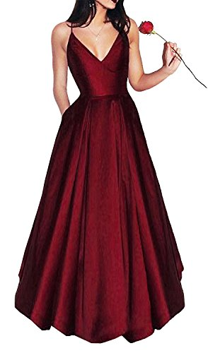 Yangprom Long Spaghetti Straps V-Neck Satin A-line Prom Dress with Pockets (16, Burgundy) ()