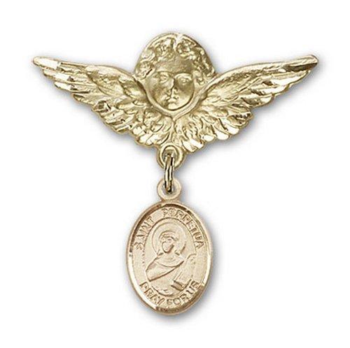 Icecarats Or Bijoux De Créateurs Rempli R. Perpetua Charme Ange Broche De Badge 1 1/8 X 1 1/8