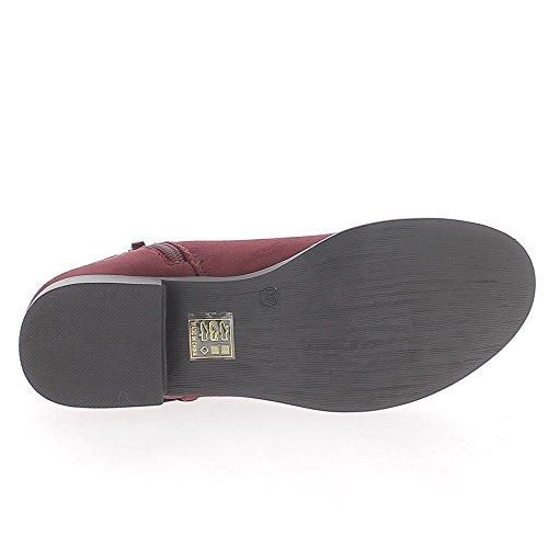 Bordeaux bajo botas de tacón de 3cm aspecto ante cordón decorativo