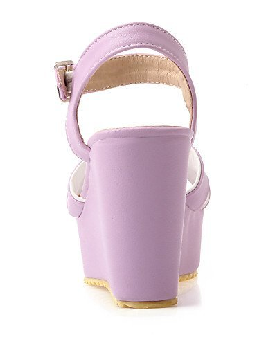 Pink Leatherette Pink Purple Wedges Sandals ShangYi Wedge Shoes Casual Women's Heel Open Toe wTqERAf