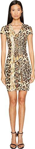 Just Cavalli Women's Short Sleeve V-Neck Mixed Animal Print Jersey Dress Natural 42 (US 4) ()