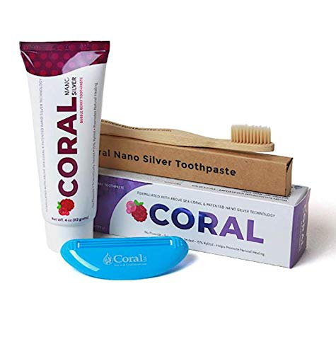 (Coral White Nano Silver Bubble Berry Bundle, Natural Fluoride Free Teeth Whitening Toothpaste, Toothpaste Squeezer and Bamboo Toothbrush, Coral Calcium Nano Silver Infused SLS Free - 4 Ounces)