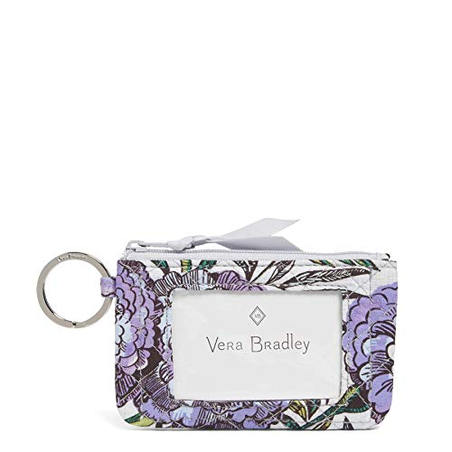 Vera Bradley Iconic Zip ID Case, Signature Cotton, Lavender Meadow - Cotton Womens Ring