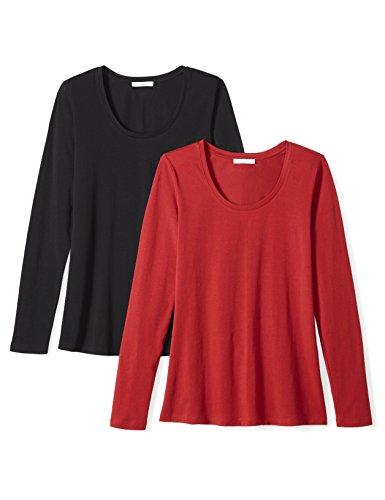 - Amazon Brand - Daily Ritual Women's Stretch Supima Long-Sleeve Scoop Neck T-Shirt, Black/Deep Red, XX-Large