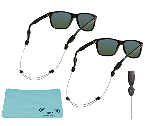 Chums Orbiter Adjustable Eyewear Retainer Wire Sunglass Strap | Large & XL Combo End | Thin Eyeglass and Sports Glasses Cable Holder Keeper Lanyard | 2pk Bundle + Cloth, Clear
