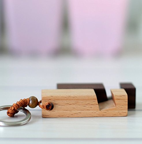 UChic 2PCS Fashion Wood Phone Seat Key Buckle Holder Stand Bracket Stent + Key Chain Ring Keyring Gift For Women Men