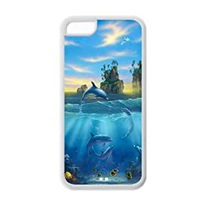 Cool Jumpping Dolphins Hot Fashion Design Case for Iphone 5C TPU Style 03