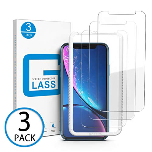 Marge Plus Compatible with iPhone XR Screen Protector, [3pack] Clear HD Tempered Glass Screen Protector Anti-Scratch 2.5 D Curved Edge 6.1 Inch with 99% Touch Accurate