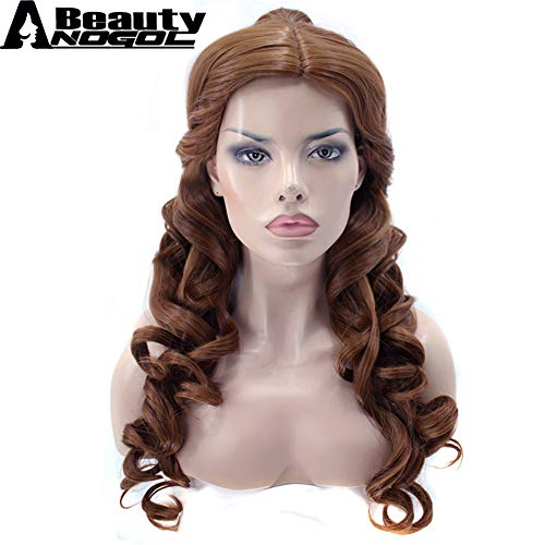 Wig Cosplay Party Costume Soft Synthetic Unisex Clip Ponytai+Hair Cap+Beauty and Beast Natural Brown Long Body Wave Belle Synthetic 24