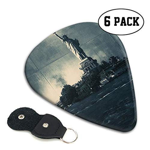 Teesofun Fashion ABS Plastic Guitar Picks Fantasy Statue of Liberty Cool Stylish Guitar Accessories 6 Pack for Acoustic, Electric, Original and Bass Guitars