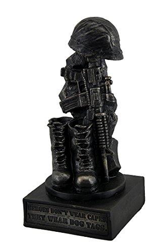 Zeckos Resin Statues Honoring The Fallen Military Soldier's Boots Helmet & Rifle Statue 8 Inch 4 X 8 X 3.75 Inches Bronze - Fallen Heroes Memorial